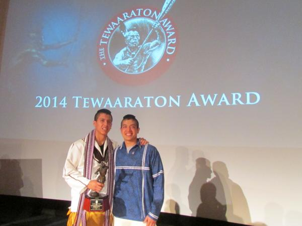 The Tewaaraton had never had shared winners before Thursday night. But the committee voted unanimously to give the award to both Lyle Thompson (left) and Miles Thompson, who both had record-breaking seasons.