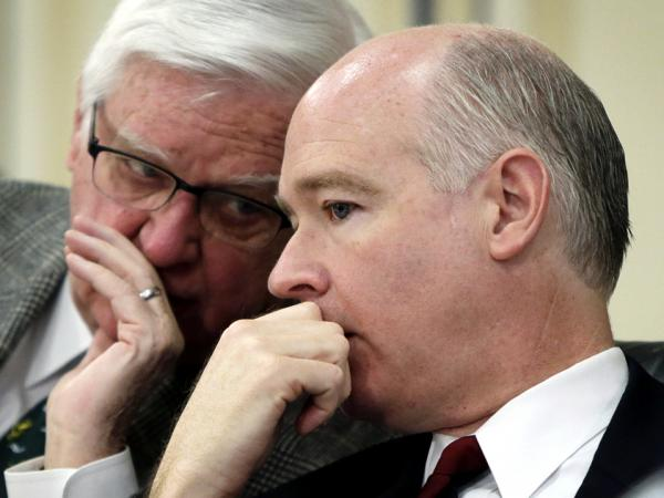 Rep. Robert Aderholt (R-AL), right, listens to Rep. Hal Rogers (R-KY) during the testimony of Secretary of Agriculture Tom Vilsack in Washington on March 14.