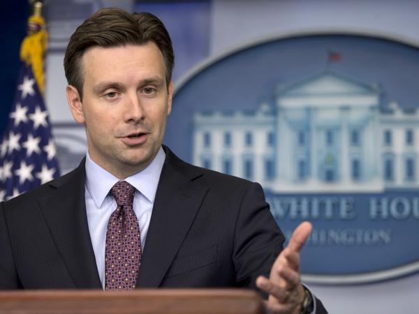 White House deputy press secretary Josh Earnest speaks during the daily news briefing at the White House on April 4.