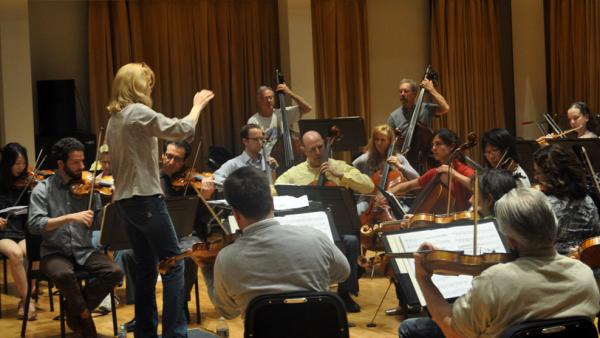 Jazz bandleader and composer Maria Schneider conducts a rehearsal with the St. Paul Chamber Orchestra. Her first classical composition is the centerpiece of the orchestra's Carnegie Hall concert.