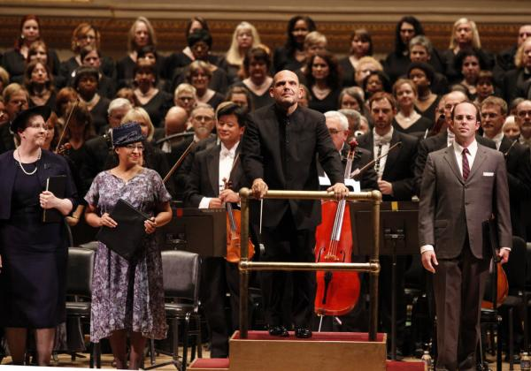 (Left to right) Mezzo-soprano Kristine Jepson, soprano Indira Mahajan, conductor Jaap van Zweden and Tenor Vale Rideout take the stage along with members of the Dallas Symphony Orchestra and Chorus.