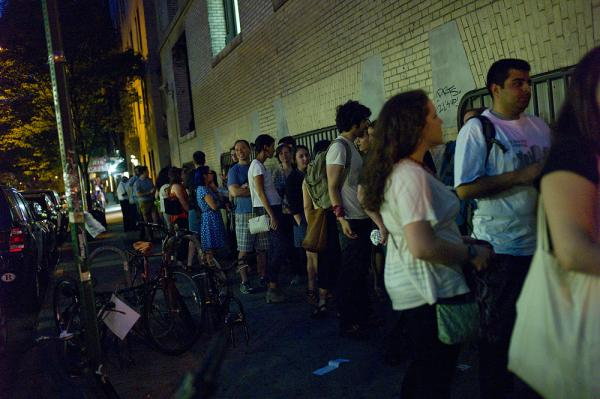 Fans gather outside Le Poisson Rouge in New York City for the Regina Spektor performance.
