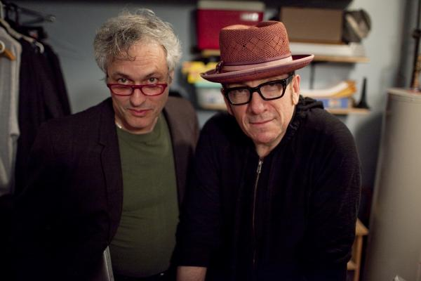 Marc Ribot had a famous visitor pay his respects back stage at the Vanguard: Elvis Costello.