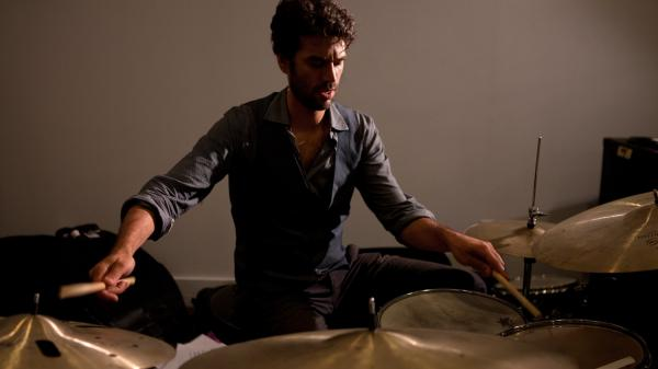 Jazz musician Daniel Freedman on drums performing at WBGO studio sessions in Newark, NJ on June 22, 2012.