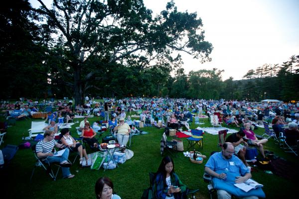 Picnickers started arriving hours early for this concert; by the time the music started, some 12,00 concertgoers packed the Shed and Tanglewood's grounds.