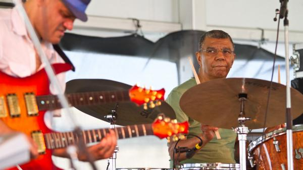 Drummer Jack DeJohnette (right) performs with guitarist Dave Fiuczynski (left) at the 2012 Newport Jazz Festival.
