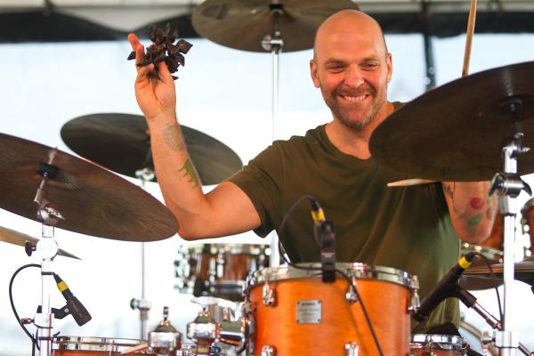 Drummer Dave King of The Bad Plus performs at the 2012 Newport Jazz Festival.