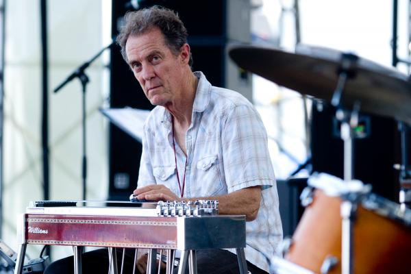 Greg Leisz plays pedal steel guitar to accompany Bill Frisell at the 2012 Newport Jazz Festival.