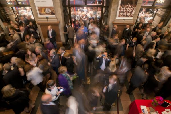 An excited audience poured into the lobby for this performance that opened the Carnegie Hall season.