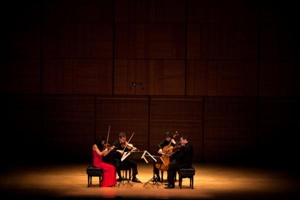The Belcea Quartet — violinists Corina Belcea (left) and Axel Schacher, cellist Antoine Lederlin and violist Krzysztof Chorzelski (far right) — plays two of Beethoven's late string quartets at Carnegie Hall's Zankel Hall, Nov. 7, 2012. It was the first concert back in the building after Hurricane Sandy forced Carnegie to close for several days.