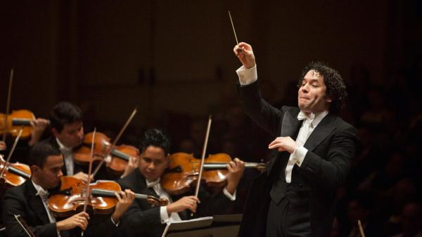 Gustavo Dudamel conducts Simon Bolivar Symphony Orchestra of Venezuela at Carnegie Hall in New York.