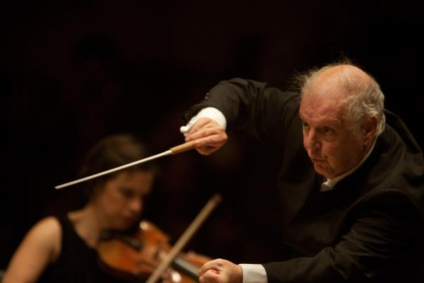 A propulsive Barenboim at the podium. At other moments, the conductor leaned back and directed the orchestra only with his eyes — and no hand gestures.