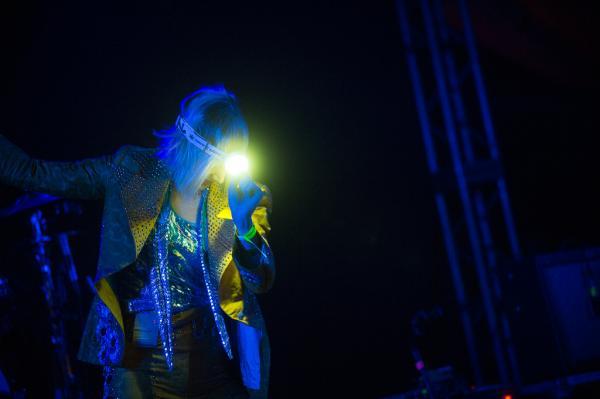 Karen O lit up the night at Stubb's. She also wore a headlamp.