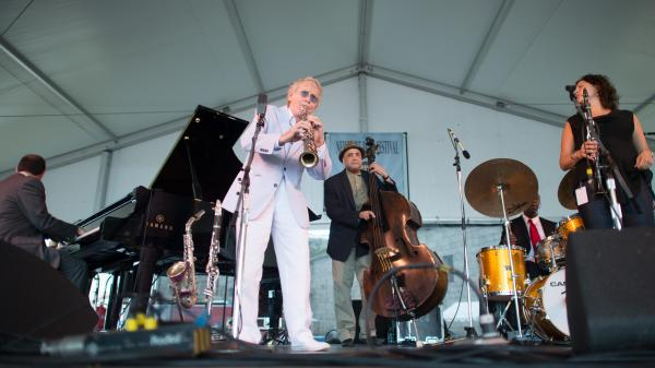 The Bill Charlap Trio with Anat Cohen and Bob Wilber performs at the 2013 Newport Jazz Festival