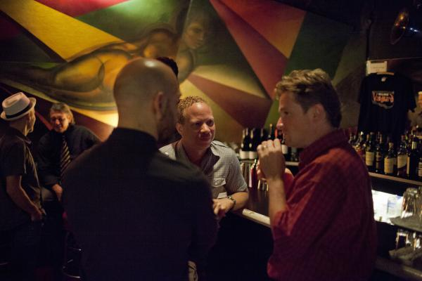 <p>At the Village Vanguard bar: (L-R) Chris Speed, Billy Peterson, Dave King, Craig Taborn, Bill Carrothers.</p><p></p>