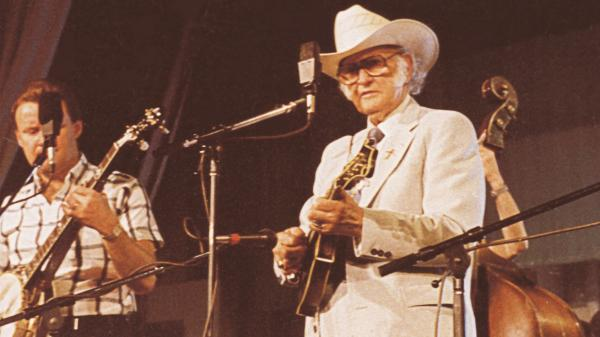 Bill Monroe performing live on <em>Mountain Stage</em> in 1989.