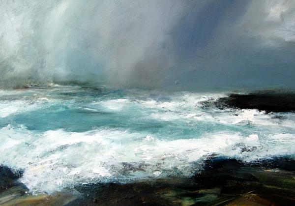 """I knew at once that the work of Ruth Brownlee, Shetland Island artist and relative of my wife, contained the necessary elements of light, emotion, ambience, and the sea,"" says Blackman. Pictured here is <em>Breckon Storm</em>."