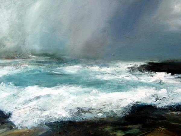 Performances of <em>The Coastal Suite</em> are accompanied by a slow slideshow of Ruth Brownlee's paintings, including this one, <em>Midwinter Gale</em>.