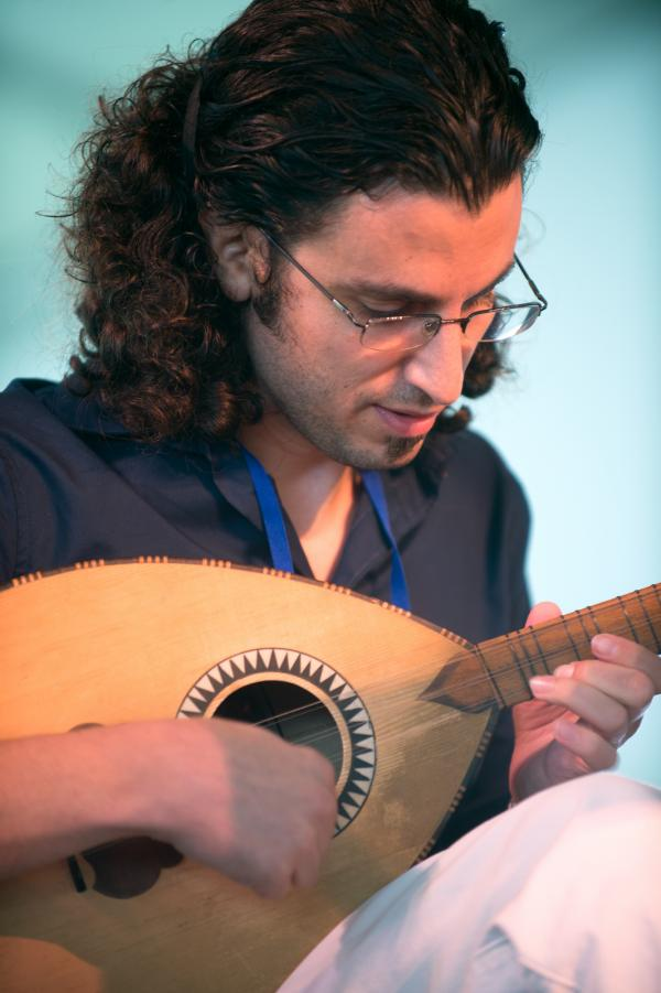 Zafer Tawil plays the oud at Newport.