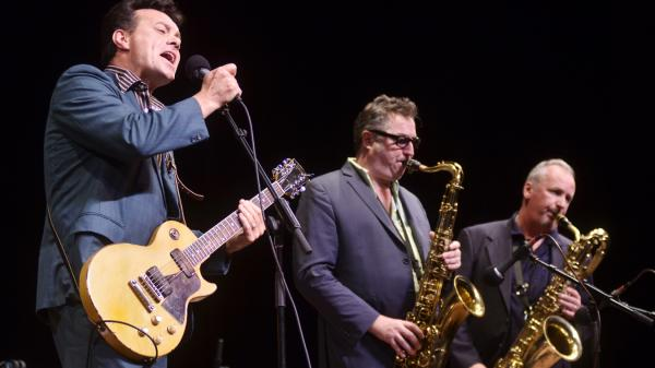 James Hunter (left) and members of The James Hunter Six perform live on <em>Mountain Stage</em>.