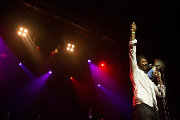 An exultant Baloji had the globalFEST crowd wrapped around his finger with his trademark mix of lilting <em>soukous</em> and Congolese rumba, the swagger and sweat of American soul, and the trenchant commentary of hip-hop.