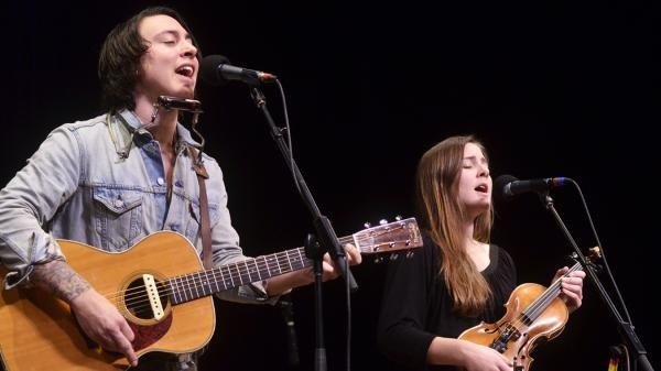 Noah Gundersen with his sister, Abby.