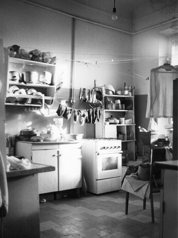 Laundry drying in a communal kitchen in Moscow.