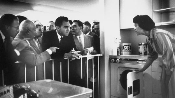 Soviet Premier Nikita Khrushchev and U.S. Vice President Richard Nixon have an impromptu and testy ideological debate in a model American kitchen in July 1959.