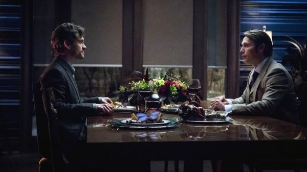 Hugh Dancy as Will Graham and Mads Mikkelsen as Hannibal Lecter in NBC's surprising <em>Hannibal</em>.