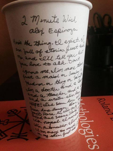 "Alex Espinoza wrote his own ""Cultivating Thought"" stories on a cup."