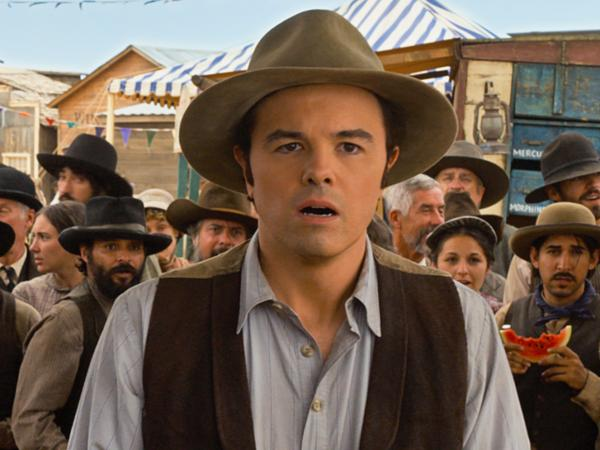 Seth MacFarlane, who wrote and directed <em>A Million Ways to Die in the West, </em>stars as Albert, a cowardly sheep farmer who inadvertently falls in love with the wife (Charlize Theron) of a dangerous outlaw (Liam Neeson).