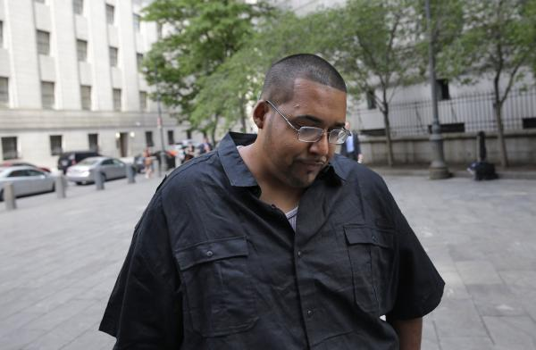 Hector Xavier Monsegur arrives at court in New York for a sentencing hearing on Tuesday.