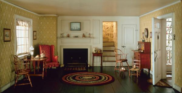 "Marianne Malone's ""The Sixty-Eight Rooms"" series was inspired by an exhibit at the Art Institute in Chicago. Pictured here is ""Cape Cod Living Room, 1750-1850,"" by Narcissa Niblack Thorne. Malone's most recent book, ""The Pirate Coin,"" is set in 18th-century Cape Cod. (Art Institute of Chicago)"