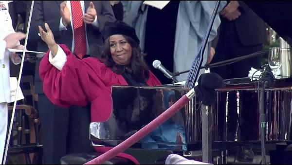 Aretha Franklin performs the National Anthem at Harvard University's 2014 commencement. (Screenshot)