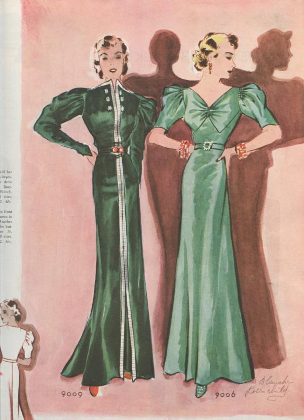 Two green evening gown patterns from the 1930s. (McCall's Fashion Book, Winter 1936-1937.  McCall's ® M9009, McCall's ® M9006 images courtesy of the McCall Pattern Company.)