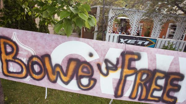 A sign announcing the release of Sgt. Bowe Bergdahl sits outside the Power House restaurant in Hailey, Idaho.