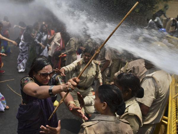 Police used water cannons to disperse hundreds of women who were demonstrating outside the office of Uttar Pradesh state Chief Minister Akhilesh Yadav in Lucknow, India, on Monday. They were demanding that Yadav crack down on an increasing number of rapes and other attacks on women and girls in the state.
