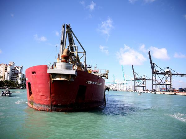 A dredging ship at the Port of Miami as the dredging project began last year. Miami's shipping channel is being dredged and deepened to accommodate larger cargo ships expected with the expansion of the Panama Canal.