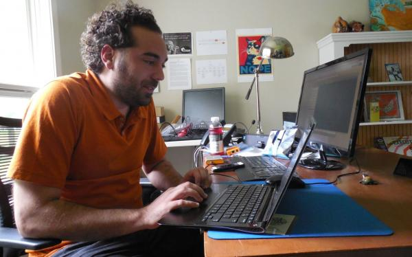 Dave Porcello, the founder of Pwnie Express, monitors Steve Henn's Web traffic from his office in Vermont.
