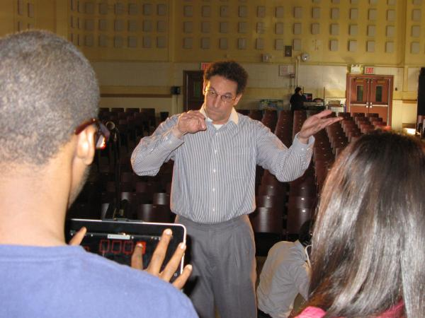 Adam Goldberg, the creator of the PS 177 band, conducting at band practice.