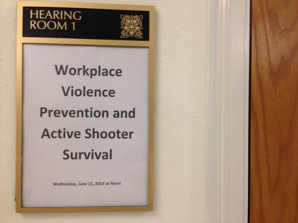 About 50 state legislative and executive branch employees showed up for a lunch hour training on how to respond to an active shooter.