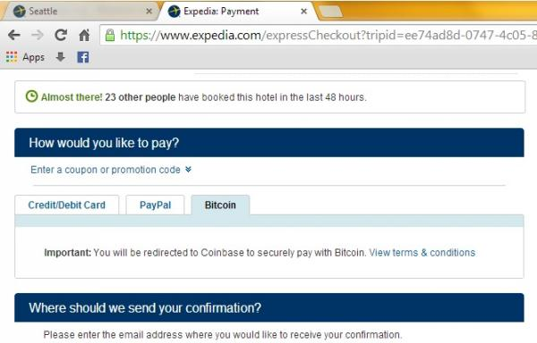 Expedia is now accepting bitcoin payments for U.S. hotel bookings.