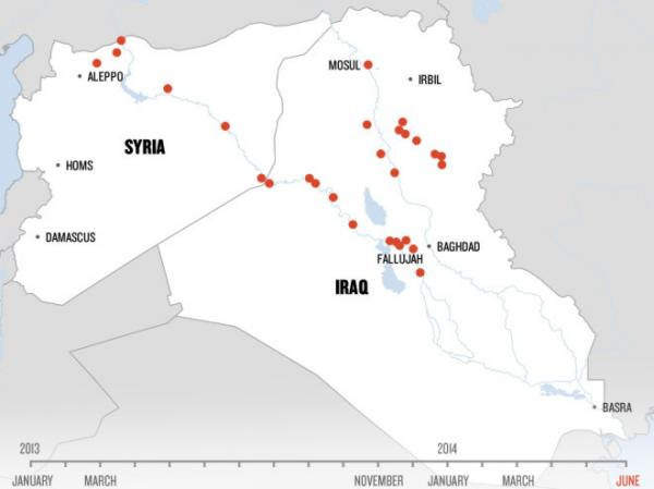 An animated map shows how ISIS has moved through Syria and Iraq