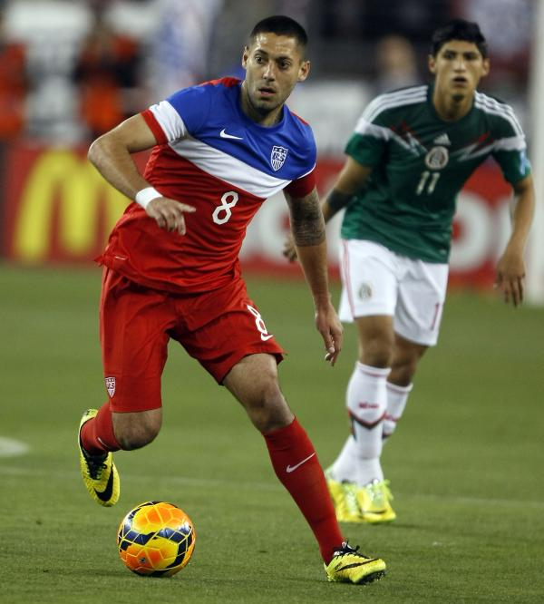 U.S. forward Clint Dempsey carries the ball against Mexico during the second half of an international friendly soccer match in April.