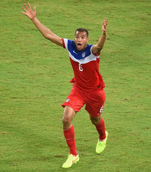 John Brooks of the United States celebrates after scoring his team's second goal during the 2014 FIFA World Cup Brazil Group G match against Ghana.