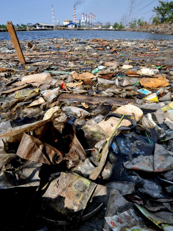Plastic floats ashore in Jakarta, Indonesia.