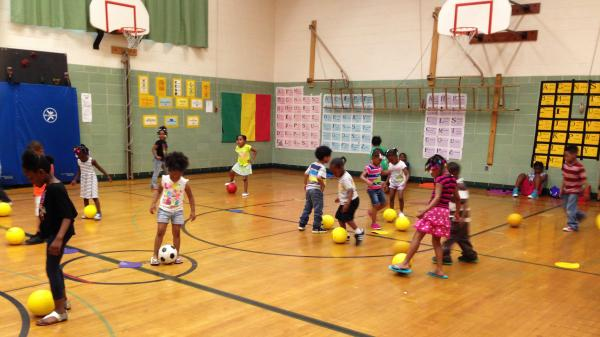 Students in gym class at Richard Kluge Elementary in Milwaukee. Two years ago, the students had no gym, art, or music classes but that's changing as Milwaukee Public Schools re-hires teachers for these classes.