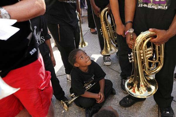 Brooklyn's Royal Knights community marching band wear T-shirts honoring the memory of member Tanaya Copeland, an 18-year-old who was murdered last month.