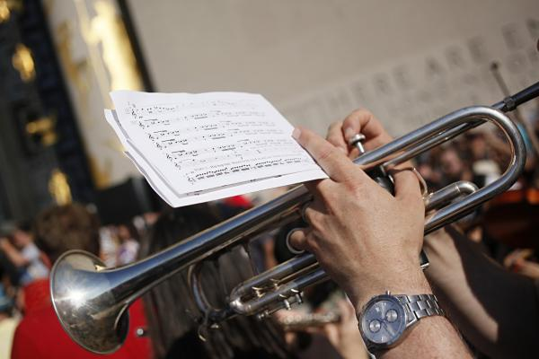 <em>100+ BPM </em>was commissioned by NPR Music. In the month before the premiere, musicians downloaded the score from the websites of NPR Music, Make Music New York, Brooklyn Public Library and Red Baraat, and brought them along in flip books to the performance.