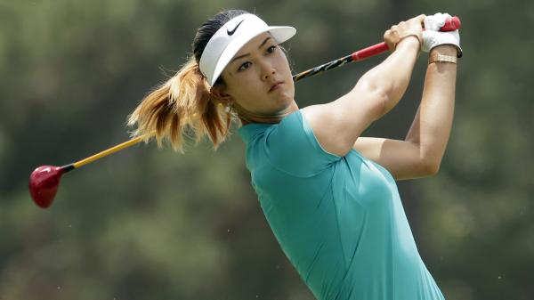 Michelle Wie watches her tee shot on the second hole during the final round of the U.S. Women's Open golf tournament in Pinehurst, N.C., on Sunday.
